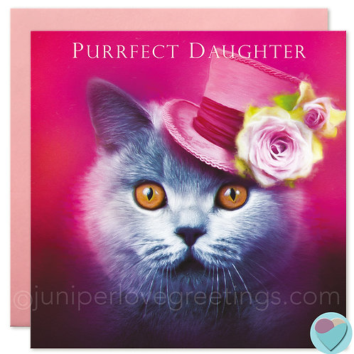 Daughter Birthday Card British Blue Shorthair Cat 'PURRFECT DAUGHTER'