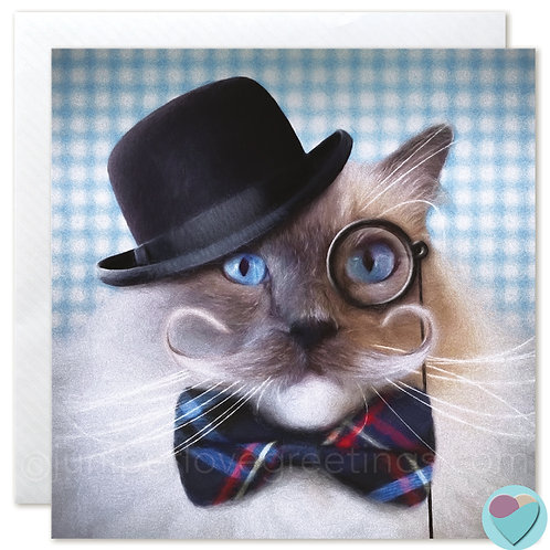 Ragdoll Cat Card BLANK Blue Point Mitted wearing Monocle and Bow Tie
