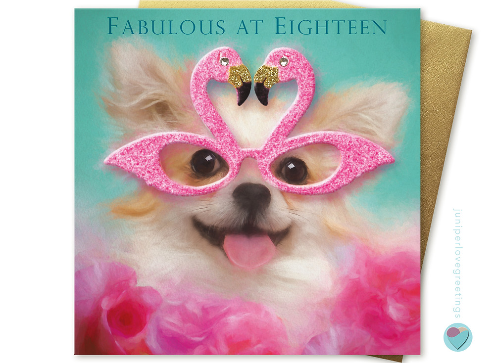 18 th birthday card picture of chihuahua wearing pink flamingo glasses