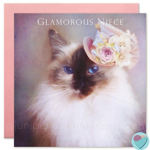 Ragdoll Cat Birthday Card Niece Card 'GLAMOROUS NIECE'