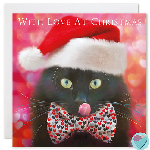 Black Cat Christmas Card 'WITH LOVE AT CHRISTMAS'