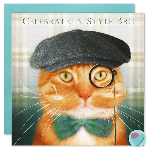 Ginger Cat Brother Birthday Card 'CELEBRATE IN STYLE BRO'