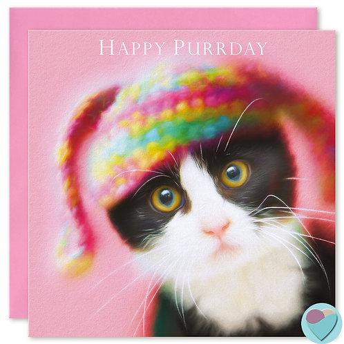 Tuxedo Kitten Birthday Card 'HAPPY PURRDAY'