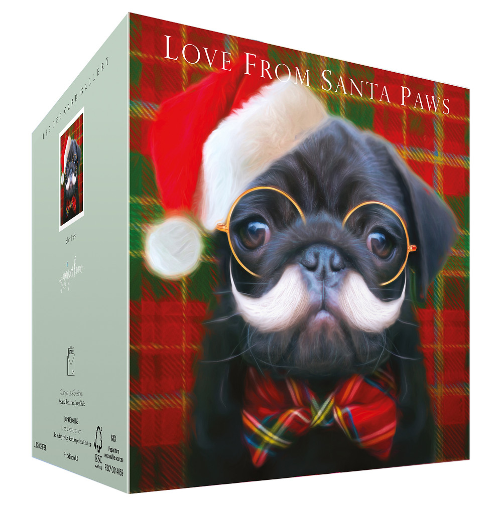 Funny Black Pug wearing Santa hat, spectacle, white moustache and tartan bow tie, greetings says love from Santa paws
