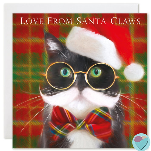 Tuxedo Cat Christmas Card 'LOVE FROM SANTA CLAWS'