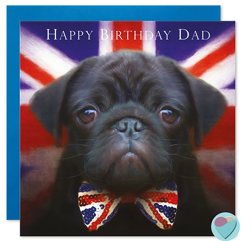DAD Pug Birthday Card Black Pug Puppy 'HAPPY BIRTHDAY DAD'