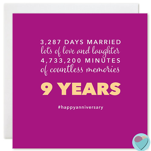 Wedding Anniversary Card 9 Years 3,287 DAYS MARRIED
