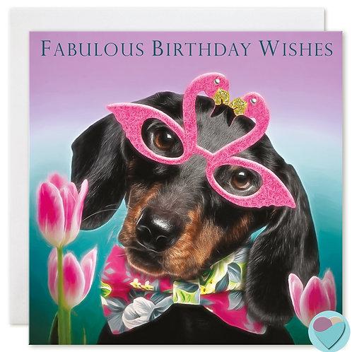 Dachshund Birthday Card 'FABULOUS BIRTHDAY WISHES'
