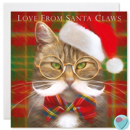 Tabby Cat Christmas Card 'LOVE FROM SANTA CLAWS'