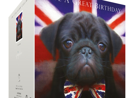 New Black Pug Birthday Card!