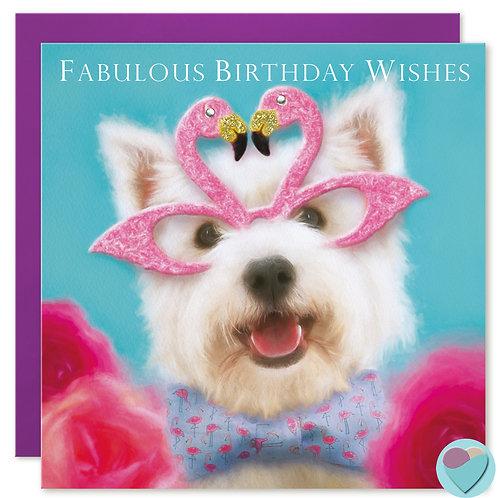 Westie Birthday Card 'FABULOUS BIRTHDAY WISHES'
