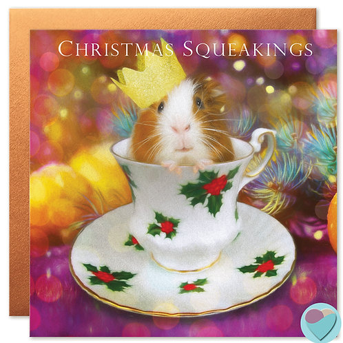 Guinea Pig Christmas Card 'CHRISTMAS SQUEAKINGS'