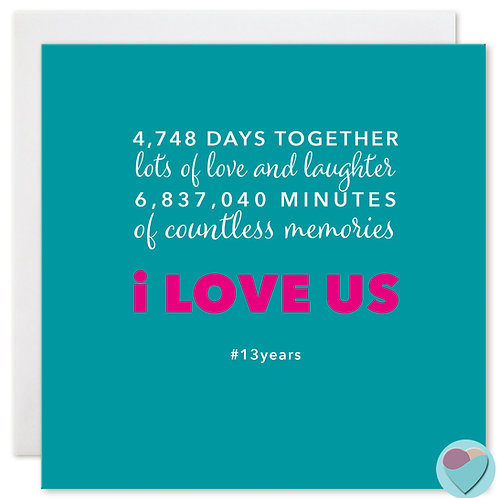 Anniversary Card 13 Years 4,748 DAYS TOGETHER