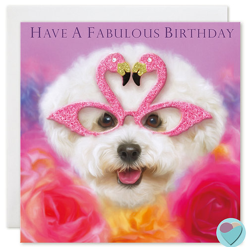 Bichon Frise Birthday Card  'HAVE A FABULOUS BIRTHDAY'