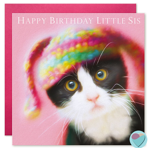 Sister Birthday Card - 'HAPPY BIRTHDAY LITTLE SIS' Tuxedo Kitten