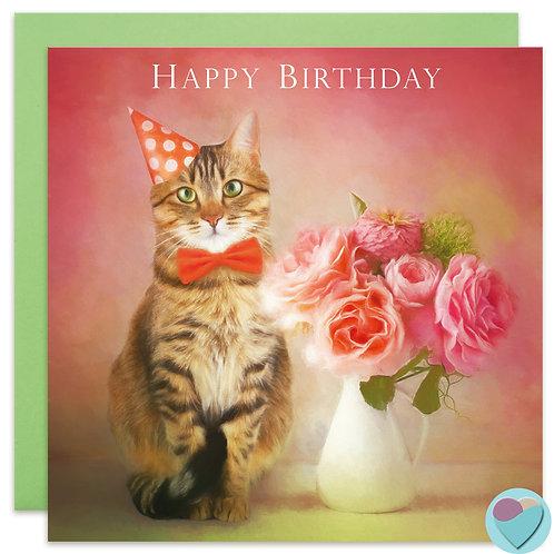 Tabby Cat Lovers Birthday Card UK 'HAPPY BIRTHDAY' '