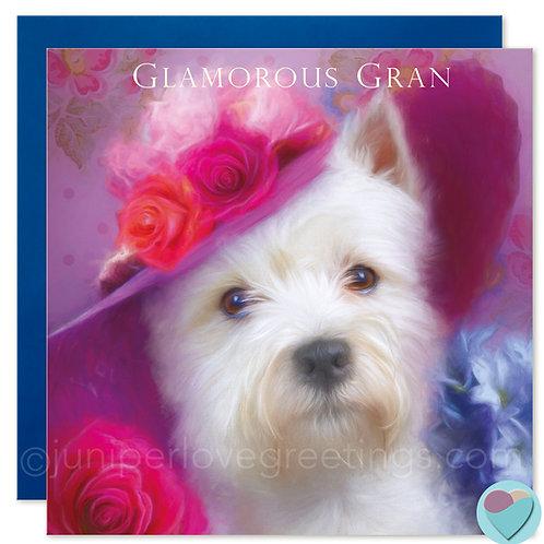 Nan Birthday Card West Highland Terrier Westie Lover 'GLAMOROUS GRAN'
