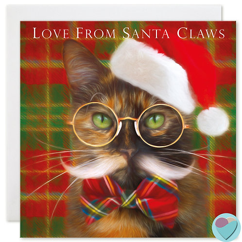Tortoiseshell Cat Christmas Card 'LOVE FROM SANTA CLAWS'