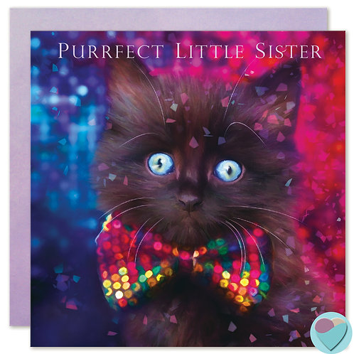 Fluffy Black Kitten Birthday Card Sister 'PURRFECT LITTLE SISTER'
