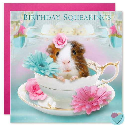 Guinea Pig Birthday Card 'BIRTHDAY SQUEAKINGS'