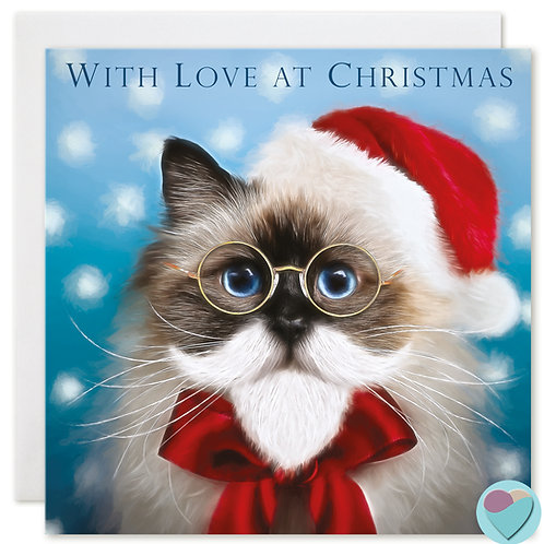 Birman Cat Christmas Card WITH LOVE AT CHRISTMAS