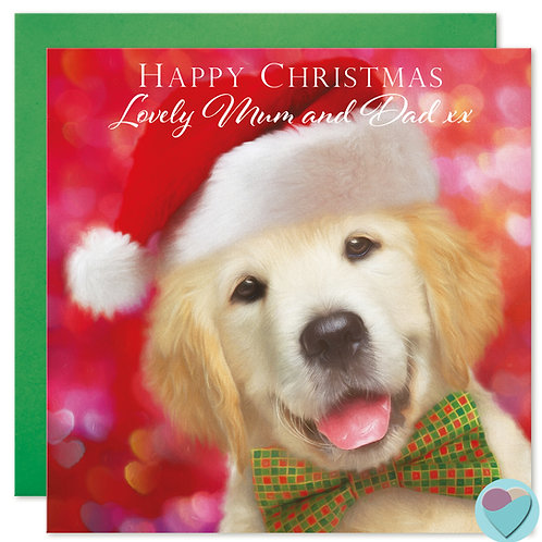 Labrador Mum and Dad Christmas Card 'HAPPY CHRISTMAS LOVELY MUM AND DAD'