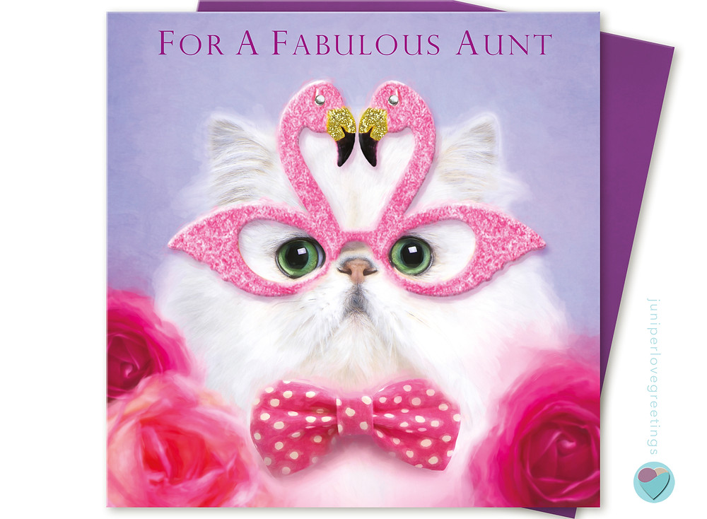 birthday card for a fabulous aunt picture of a white Persian cat wearing pink flamingo glasses with glitter and gems