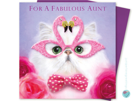 New Persian Cat Aunt Birthday Card by Juniperlove Greetings UK