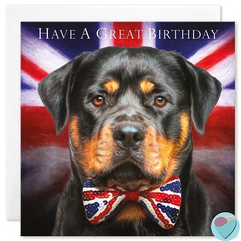 Birthday Card Rottweiler 'HAVE A GREAT BIRTHDAY'