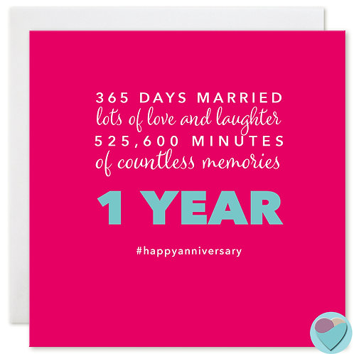 Wedding Anniversary Card '365 DAYS MARRIED'