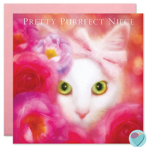 White Cat Niece Greeting Card - PRETTY PURRFECT NIECE