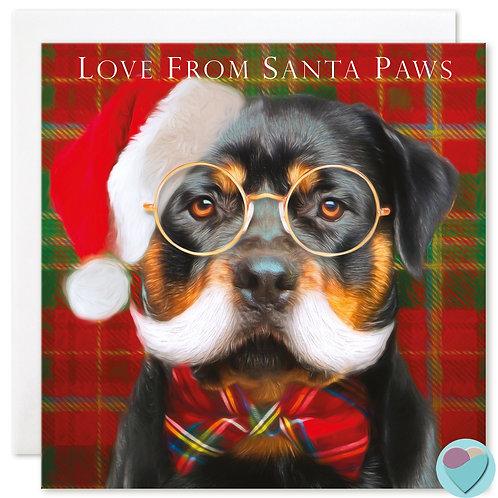 Rottweiler Christmas Card 'LOVE FROM SANTA PAWS'