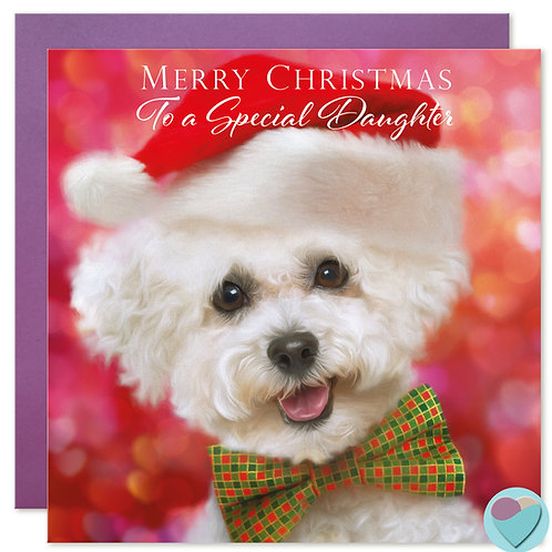 Daughter Bichon Frise Christmas Card 'MERRY CHRISTMAS To A Special Daughter