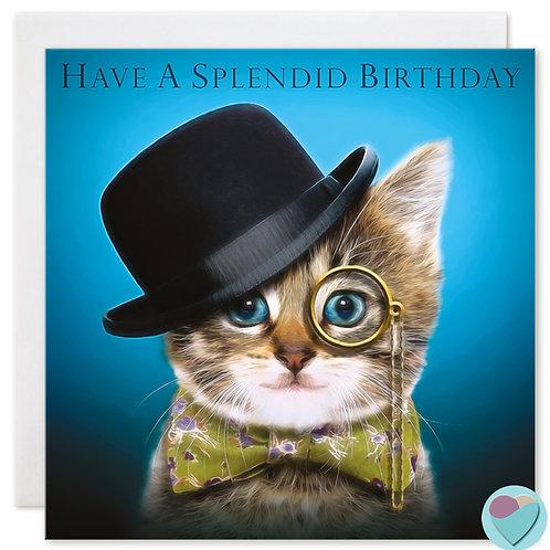 Tabby Kitten Birthday Card 'HAVE A SPLENDID BIRTHDAY'