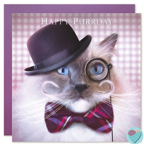 Ragdoll Cat Birthday Card 'HAPPY PURRDAY'