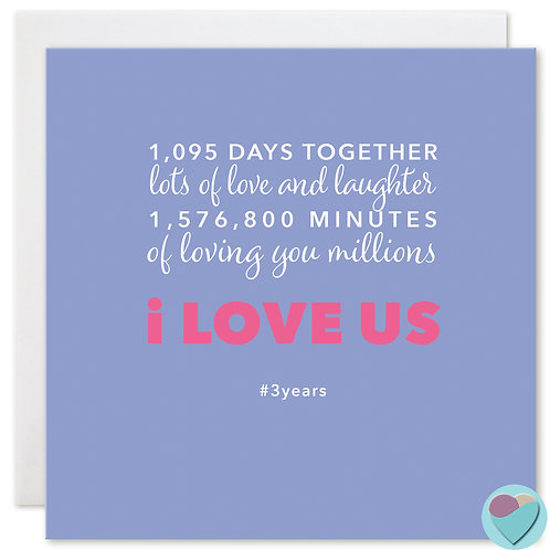 Anniversary Card 3 Years '1,095 DAYS TOGETHER'