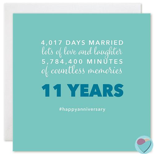 Wedding Anniversary Card 11 Years 4,017 DAYS MARRIED