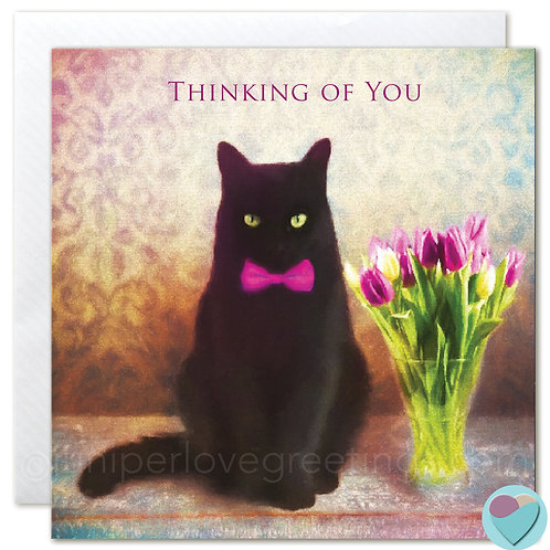 Black Cat with Tulips Greeting Card UK 'THINKING OF YOU'
