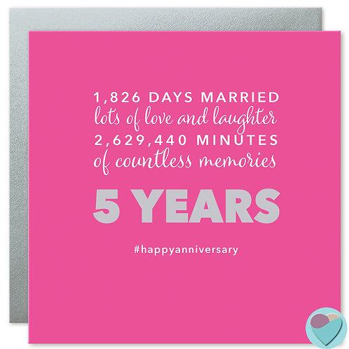 Wedding Anniversary Card 5 Years '1,826 DAYS MARRIED'
