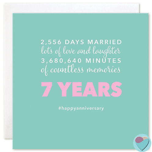 Wedding Anniversary Card 7 Years 2,556 DAYS MARRIED