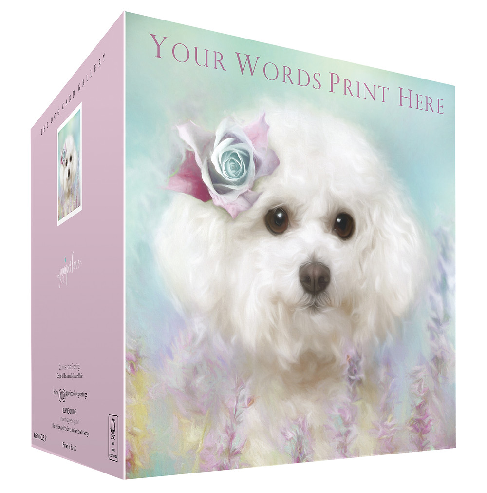 Bichon Frise dog with pastel shades of flowers