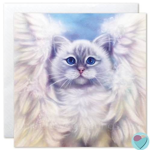 Birman Cat Art Card with Angel Wings