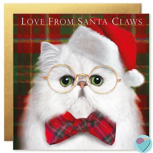 Persian Cat Christmas Card 'LOVE FROM SANTA CLAWS'