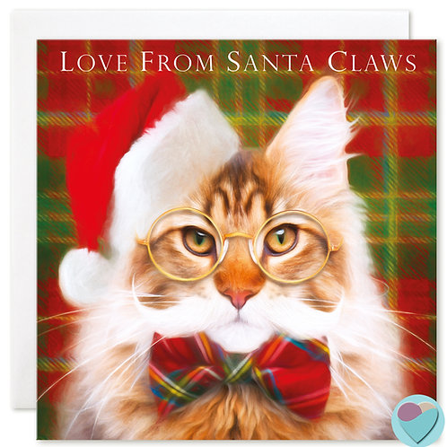 Maine Coon Cat Christmas Card 'LOVE FROM SANTA CLAWS'