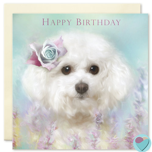 Bichon Frise Birthday Card 'HAPPY BIRTHDAY'