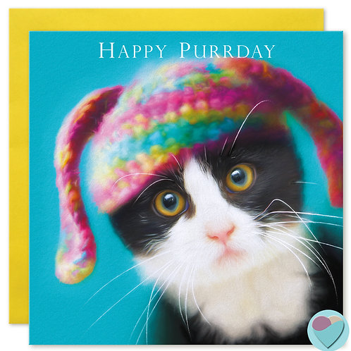 Birthday Card Black and White TUXEDO Cat Kitten Lover - HAPPY PURRDAY'