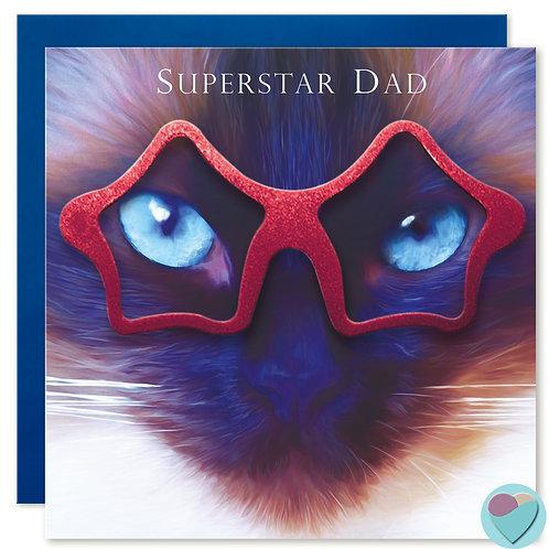 Ragdoll Cat Birthday Card Dad 'SUPERSTAR DAD'