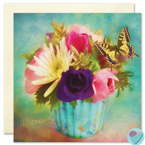FLOWERS AND BUTTERFLY BLANK CARD 'For all Occasions or to put in a frame'