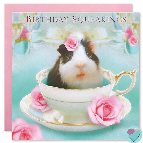 Guinea Pig Birthday Card 'BIRTHDAY SQUEAKINGS'