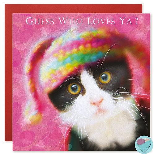 Valentine Love Card ' GUESS WHOS YA?'